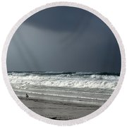 Round Beach Towel featuring the photograph Stormy by Debra Forand