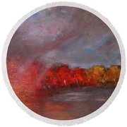 Stormy Fall Landscape Red Yellow Leaves Round Beach Towel