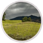 Stormy Fields Of Yellow Round Beach Towel