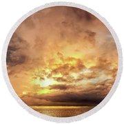 Stormy Ka'anapali Sunset Round Beach Towel