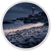 Stormy Lighthouse 2 Round Beach Towel