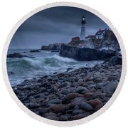 Stormy Lighthouse Round Beach Towel