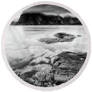 Stormy Lofoten Round Beach Towel by Alex Conu