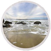 Stormy Maine Morning #1 Round Beach Towel