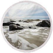 Stormy Maine Morning #3 Round Beach Towel
