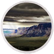 Stormy Morning In Red Rock Canyon Round Beach Towel