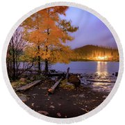 Round Beach Towel featuring the photograph Stormy Night At Round Lake by Cat Connor
