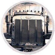 Stormy Night Peterbilt Round Beach Towel