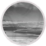 Stormy Oceanside Oregon Round Beach Towel by Amyn Nasser