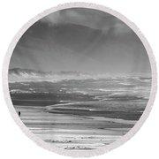 Stormy Oceanside Oregon Round Beach Towel