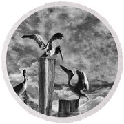 Stormy Pelicans Round Beach Towel