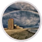 Round Beach Towel featuring the photograph Stormy Rainbow by Kelly Reber