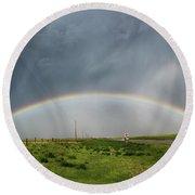 Stormy Rainbow Round Beach Towel