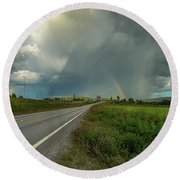 Round Beach Towel featuring the photograph Stormy by Rose-Marie Karlsen