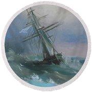 Stormy Sails Round Beach Towel