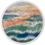 Round Beach Towel featuring the painting Stormy Seas by Kim Nelson