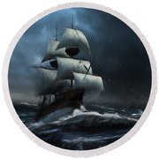 Stormy Seas - Nautical Art Round Beach Towel