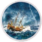 Round Beach Towel featuring the digital art Stormy Seas by Pennie McCracken