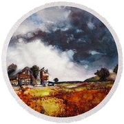 Round Beach Towel featuring the painting Stormy Skies by Geni Gorani