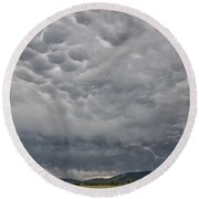 Round Beach Towel featuring the photograph Stormy Skies In Wyoming by Sandra Bronstein