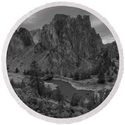 Stormy Skies Over Smith Rock - Black And White Round Beach Towel