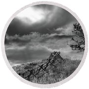 Stormy Sky At The Ranch Round Beach Towel