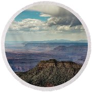 Stormy Sky Past Bridgers Knoll Round Beach Towel