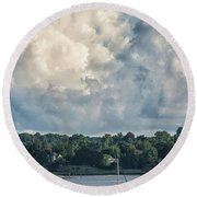 Stormy Sunday Morning On The Navesink River Round Beach Towel by Gary Slawsky