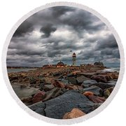 Stormy Sunrise Over Scituate Lighthouse Round Beach Towel by Brian MacLean