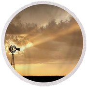 Stormy Sunset And Windmill 02 Round Beach Towel