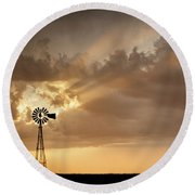 Stormy Sunset And Windmill 03 Round Beach Towel
