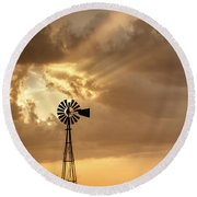 Stormy Sunset And Windmill 04 Round Beach Towel
