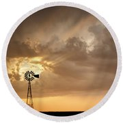 Round Beach Towel featuring the photograph Stormy Sunset And Windmill 05 by Rob Graham