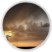 Stormy Sunset And Windmill 06 Round Beach Towel