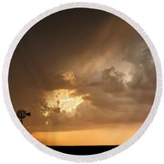 Stormy Sunset And Windmill 07 Round Beach Towel