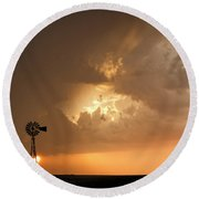 Round Beach Towel featuring the photograph Stormy Sunset And Windmill 08 by Rob Graham