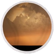 Stormy Sunset And Windmill 09 Round Beach Towel