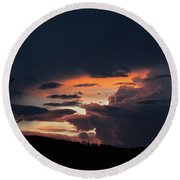 Round Beach Towel featuring the photograph Stormy Sunset by Ann E Robson