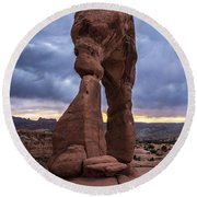 Stormy Sunset - Delicate Arch - Moab - Utah Round Beach Towel