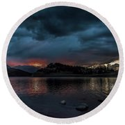 Stormy Sunset From Summit Cove Round Beach Towel