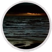 Round Beach Towel featuring the photograph Stormy Sunset by Jerry Sodorff