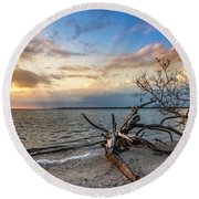 Round Beach Towel featuring the photograph Stormy Sunset by Marvin Spates