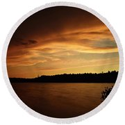 Stormy Sunset On Amoeber Lake Round Beach Towel