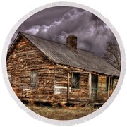 Round Beach Towel featuring the photograph Stormy Times Tenant House Greene County Georgia Art by Reid Callaway