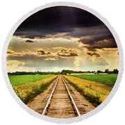 Stormy Tracks Round Beach Towel