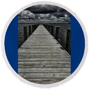 Stormy Waters I Round Beach Towel