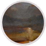 Stormy Waterscape Sunset Seascape Marsh Painting Round Beach Towel