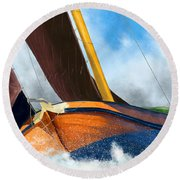 Stormy Weather Skutsje Sailing Ship Round Beach Towel