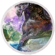 Stormy Wind Horse Round Beach Towel