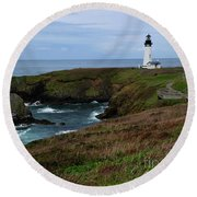 Stormy Yaquina Head Lighthouse Round Beach Towel